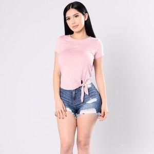 Fashion Nova Mine Knot Yours Tee Small Dusty Pink